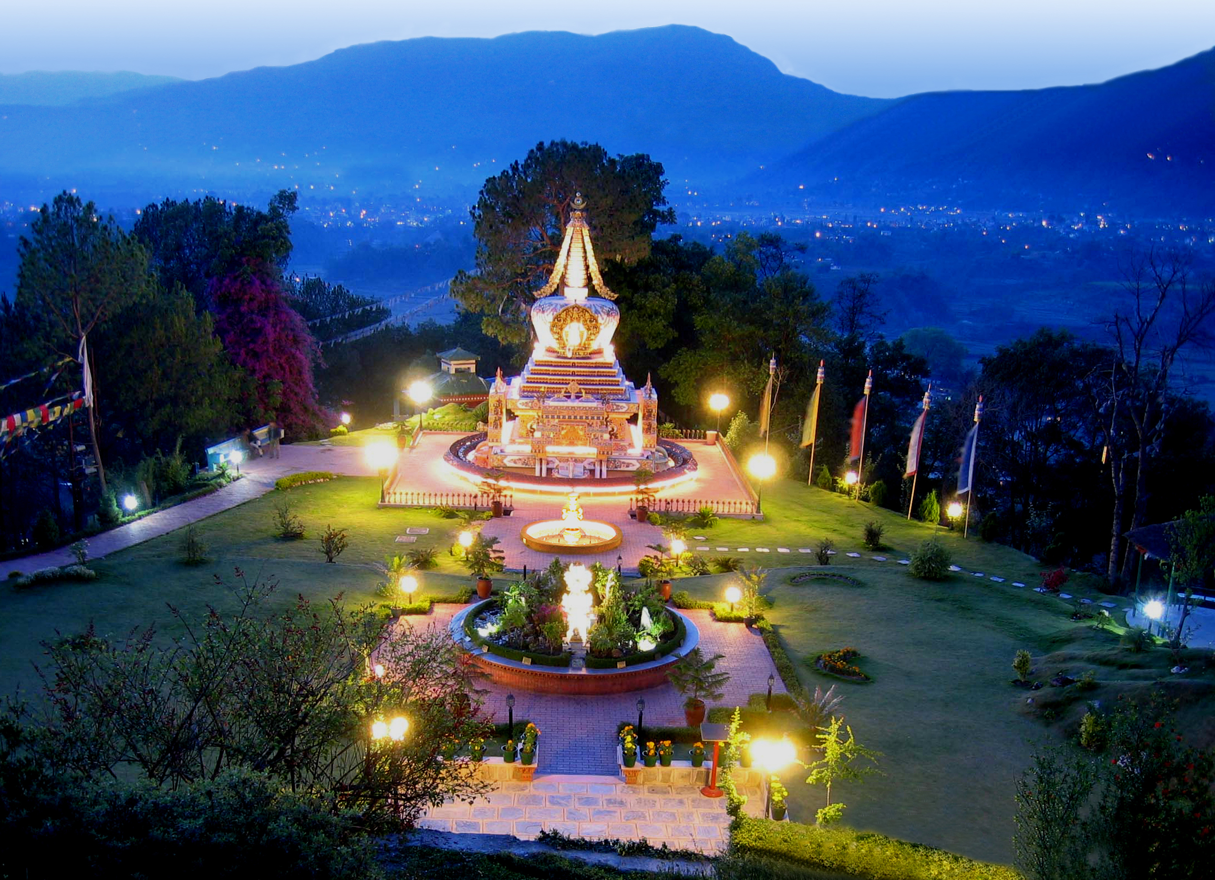 Solar illuminated stupa and gardens