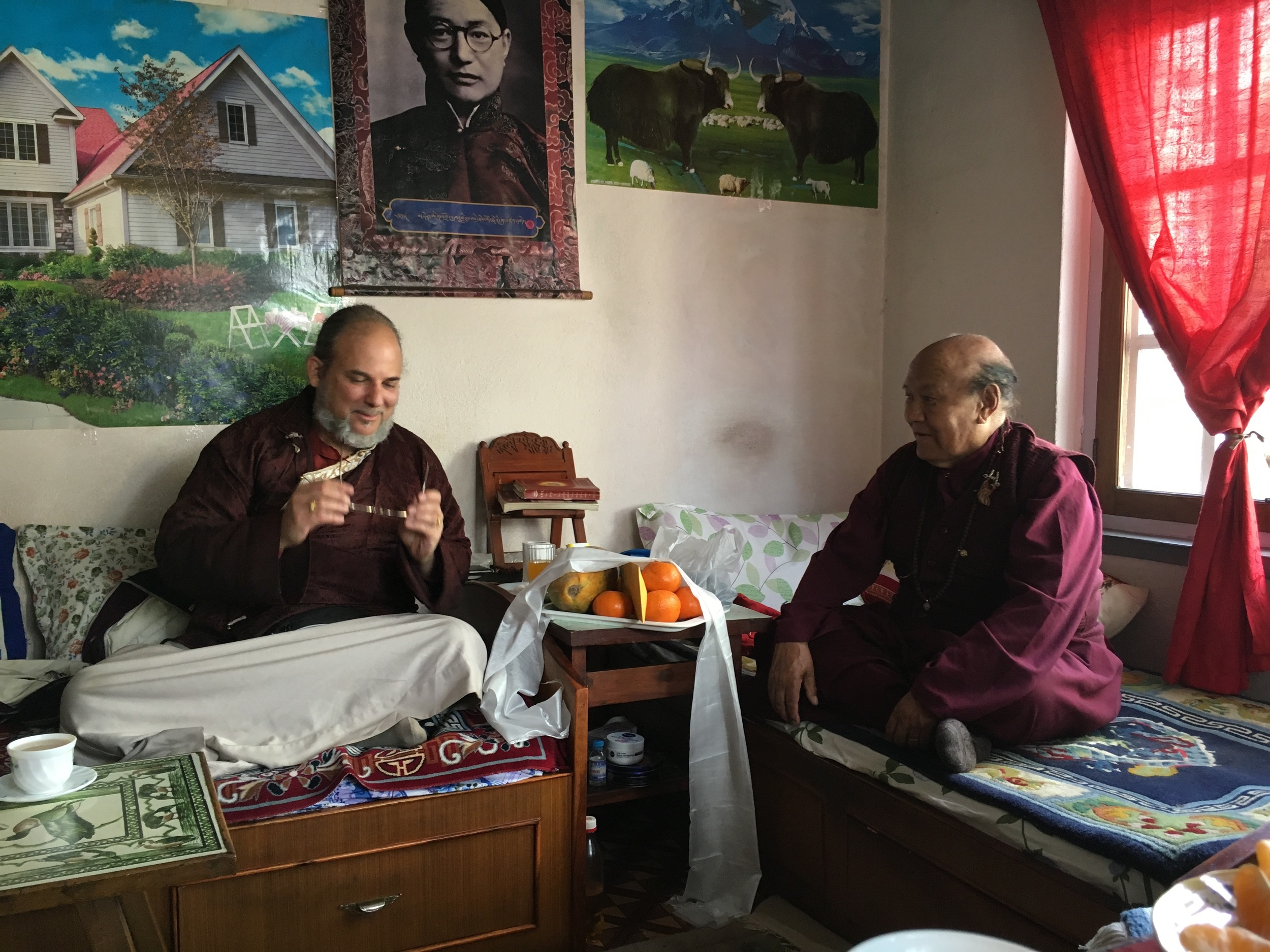 Lama Rangbar with Lama Yedrol Rinpoche discussing the Mendrup drupchen in Nepal.