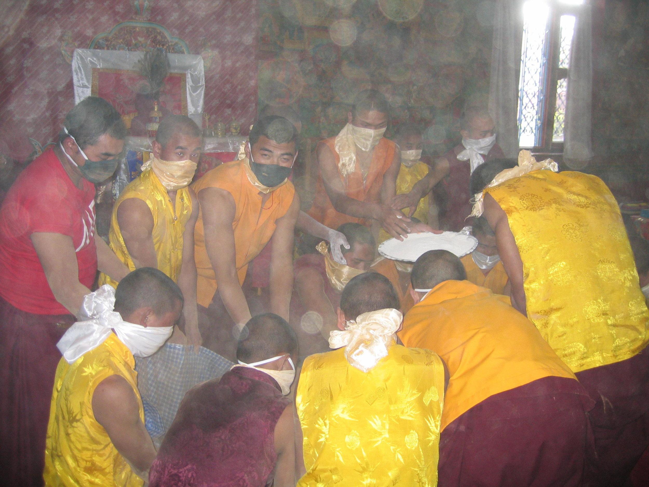 Lamas preparing Mendrup Substances at Dudjom Gompa