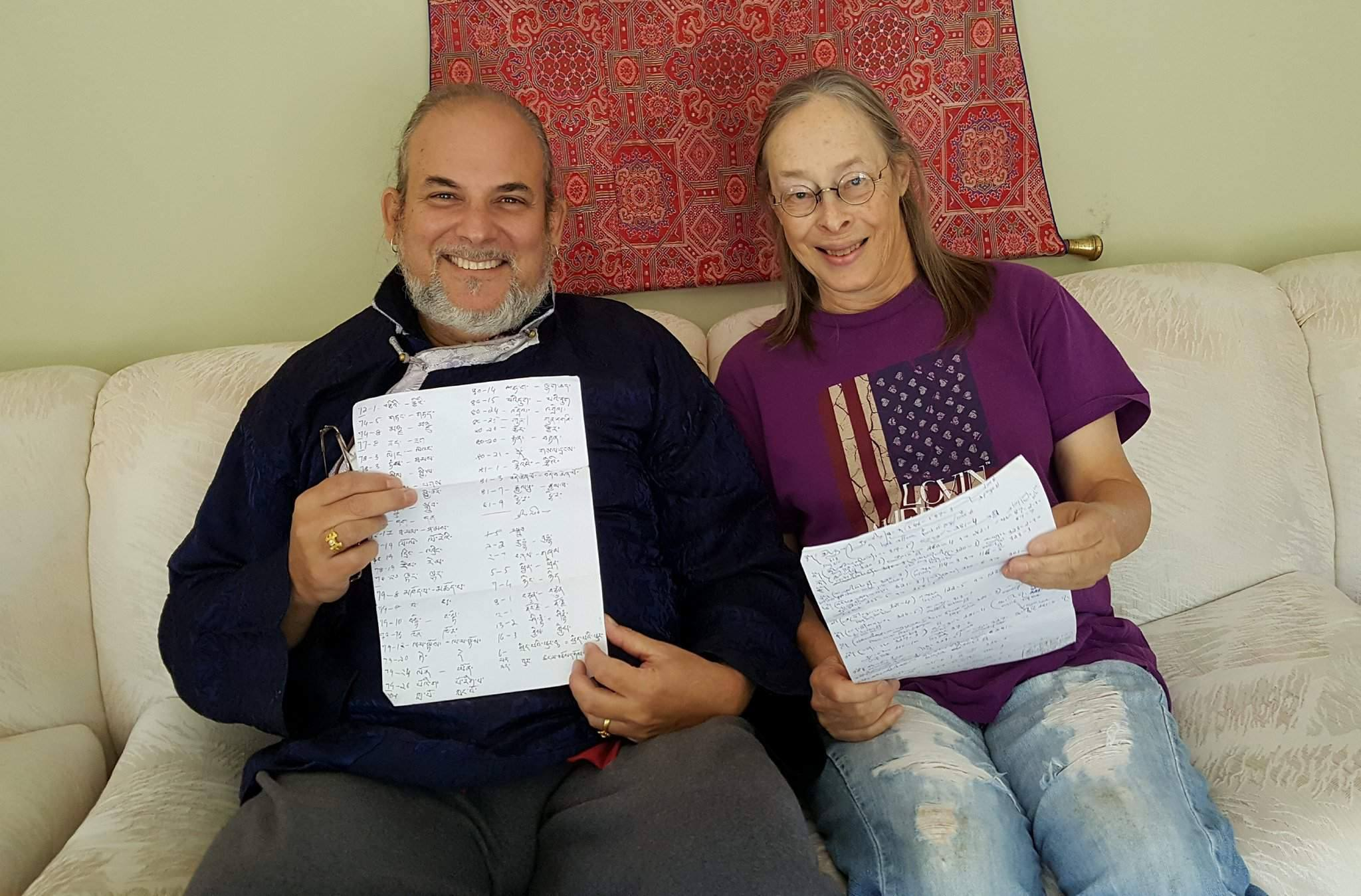 Lama Rangbar and CHeryl Lins going over corrections and ritual notes from Tulku Thadral