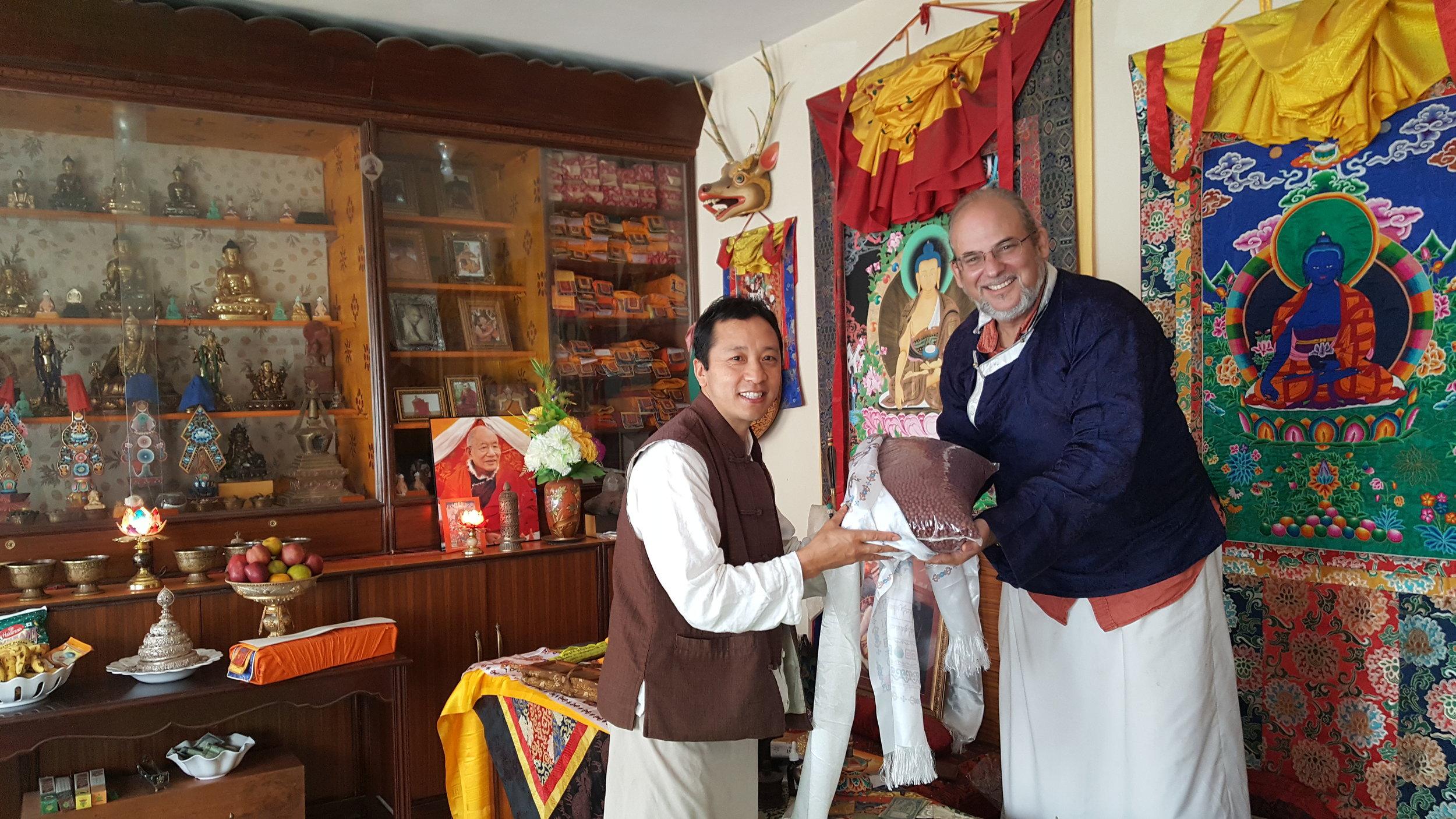 Amchi Sherab handing over Tseril to Lama Rangbar