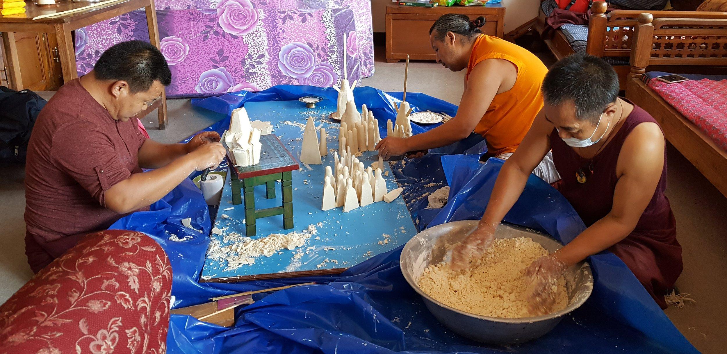 Lamas making Tormas