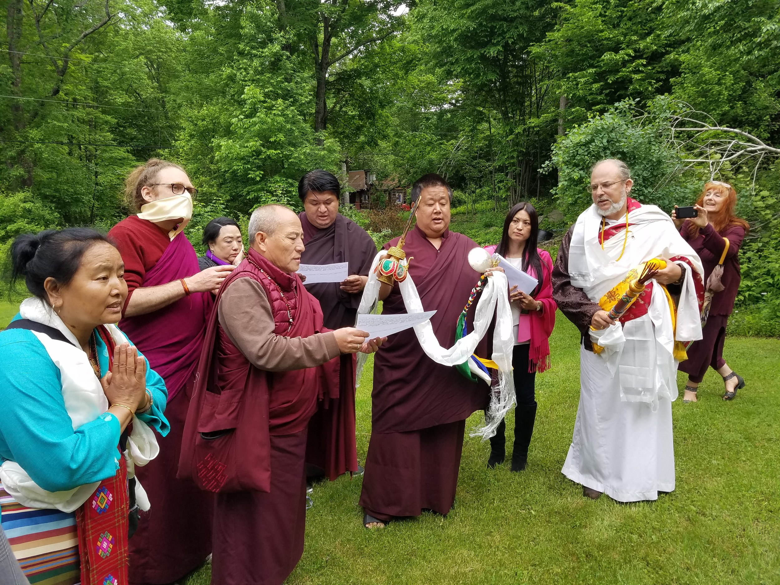 The Rinpoche's perfomred a consecration of the Stupa of Intrinsic Transformation