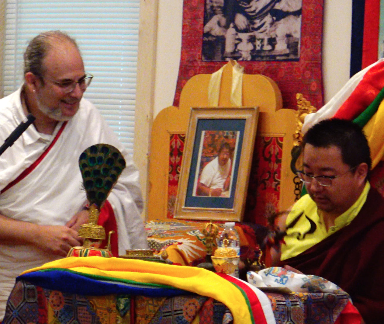 Yangsi Rinpoche inspects an ancient Katvanga from the time of Virupa