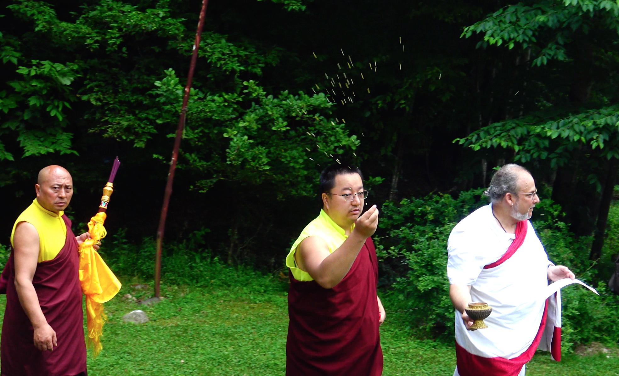 Circumambulating and blessing the stupa