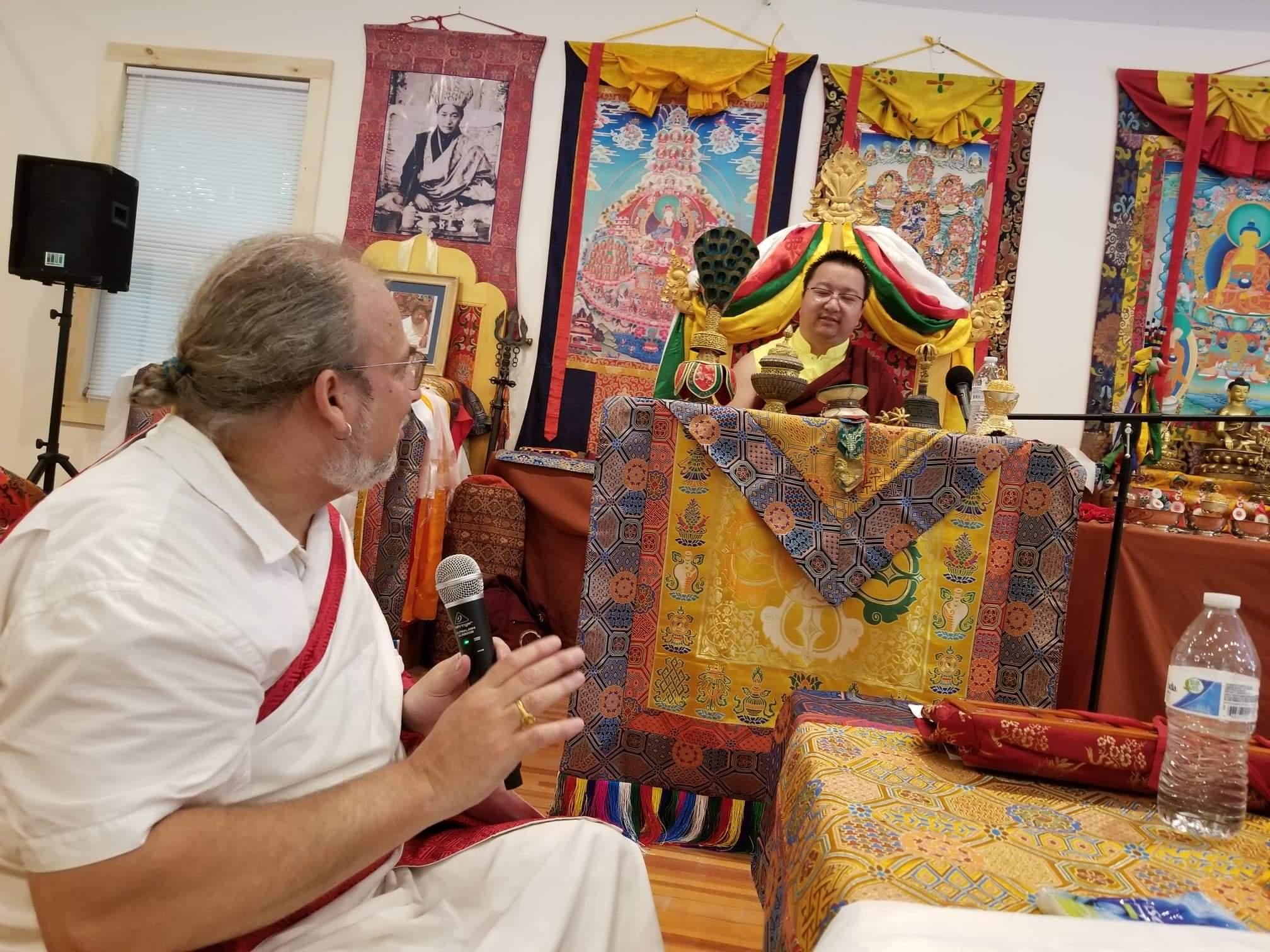 HH Yangsi Dudjom Pema Shepa Rinpoche in the new Shrine room