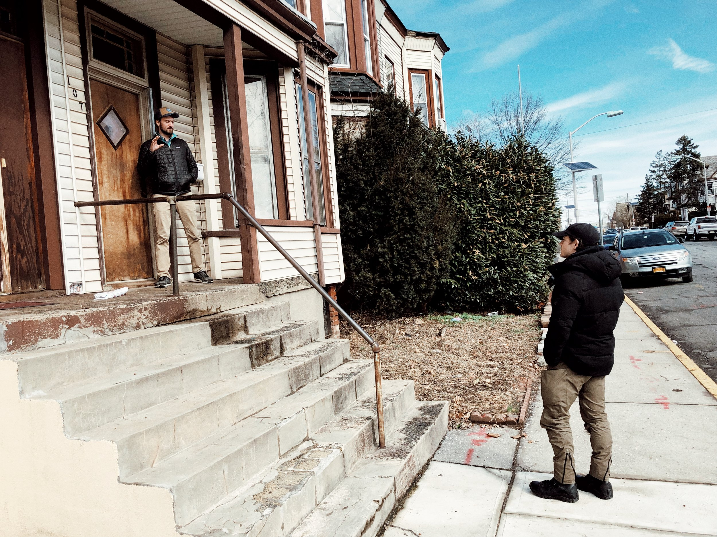 Director Shawn Willis and DP Nick Sherman working out a shot on the location scout.