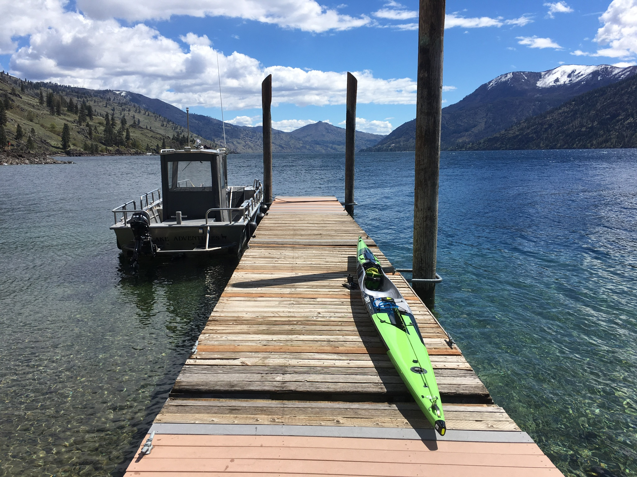 This dock was missing a slat in just the right spot for a surfski rudder to fill.
