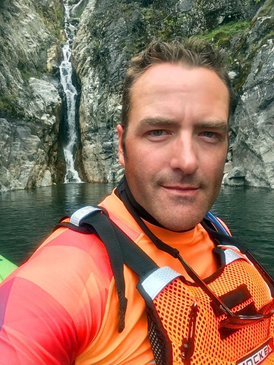 I don't often take selfies, but when I do they involve surfskis, waterfalls, and giant cliffs. The world needs more of the latter if not the former.