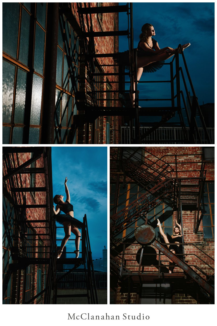 Ballerina Maddie Pals tearing up downtown in epic fashion. Tying point shoes and stretching on a fire escape framed in a dusky sky behind McClanahan Studio.