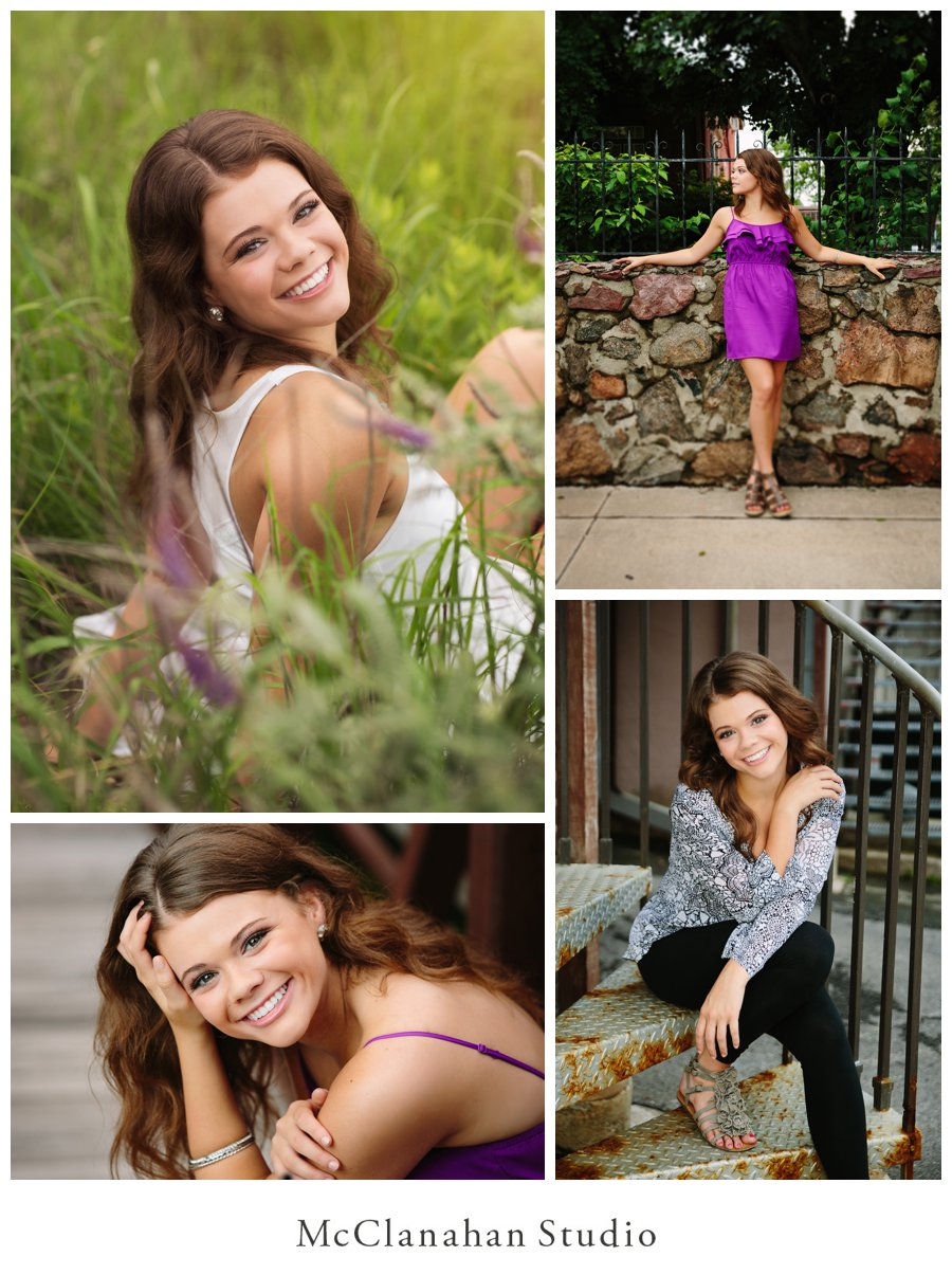 Beautiful portraits of Waukee Senior Madelene Pals in downtown Ames, IA by McClanahan Studio. Maddie is rocking a purple dress and a patterend top, looking stunning and completely owning both.