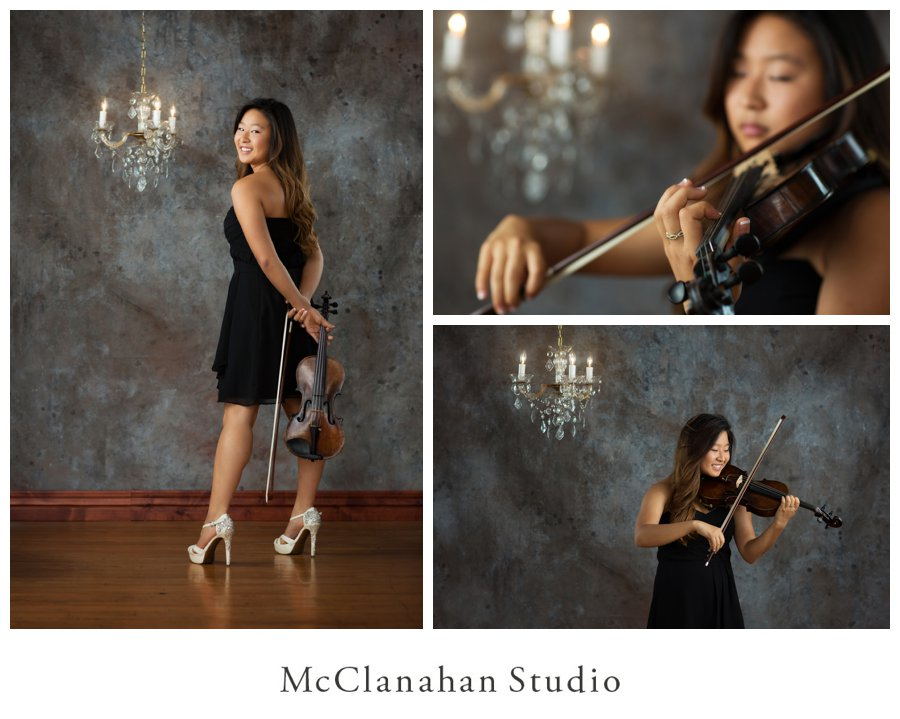 Beautiful portraits of Violinist Stephanie Shin performing in a classy black dress at McClanahan Studio for her senior photo session