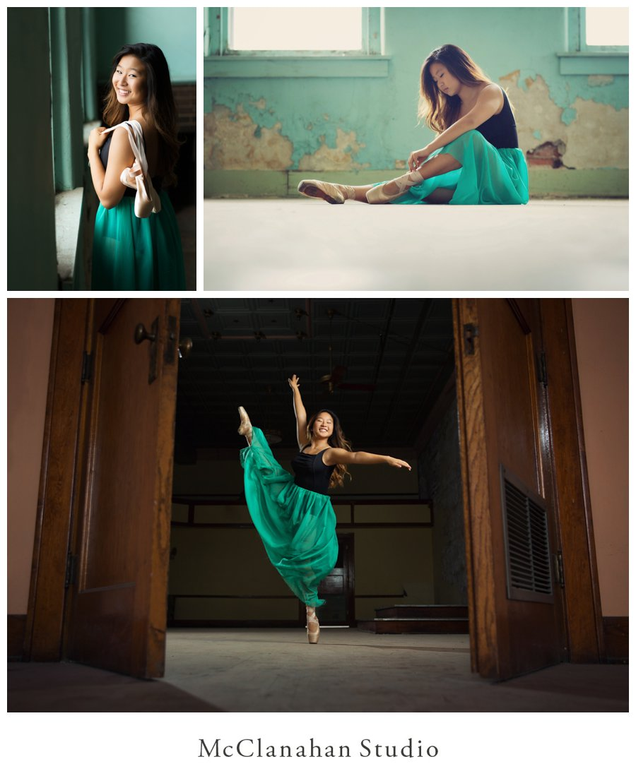 Ames high school senior and all around cool gal Stephanie Shin demonstrating her prowess and love of dance in a beautiful vintage setting with point shoes and a flowy skirt during her portrait session with McClanahan Studio.