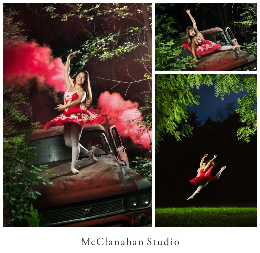 Night time dance portraits of Ames High president Stephanie Shin in a red tutu on a red truck. Smoke bomb senior photo focused with an iphone flashlight and a lovely leap framed by hanging branches. McClanahan Studio used artificial lighting to make great senior photos in pitch black conditions.