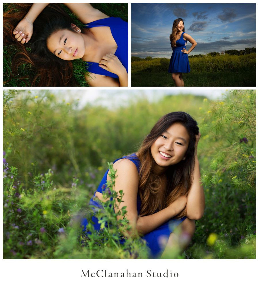 Elegant, lovely senior photos in a blooming field and a great shot of Stephanie Shin laughing hysterically in blue dress in front of a beautiful blue sky. This girl is bomb.
