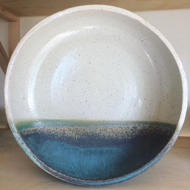 The miraculous is manifest every time a piece is fired, never have two bowls come out the same. This one is headed to @latesundayafternoon on Saturday with a half dozen of its friends! .  #ceramics #unique #oneofakind #glaze #turquoise #horizon #bowl #pottery #handmadewithlove