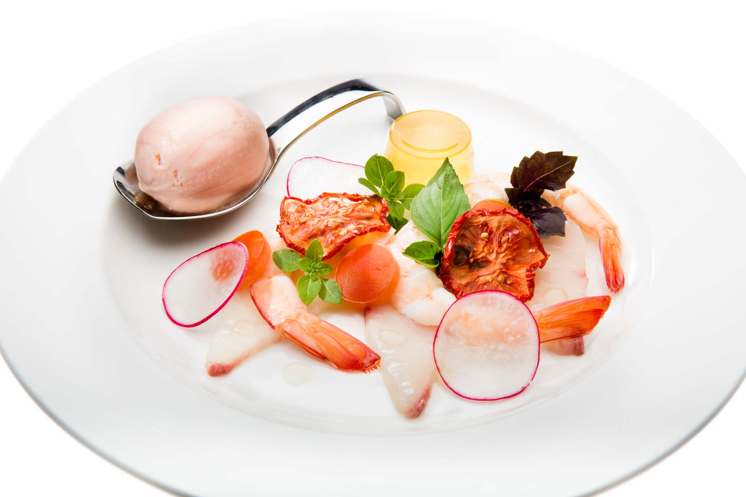 Kingfish Sashimi and King Prawns with Textured Assiette of Jack's tomatoes