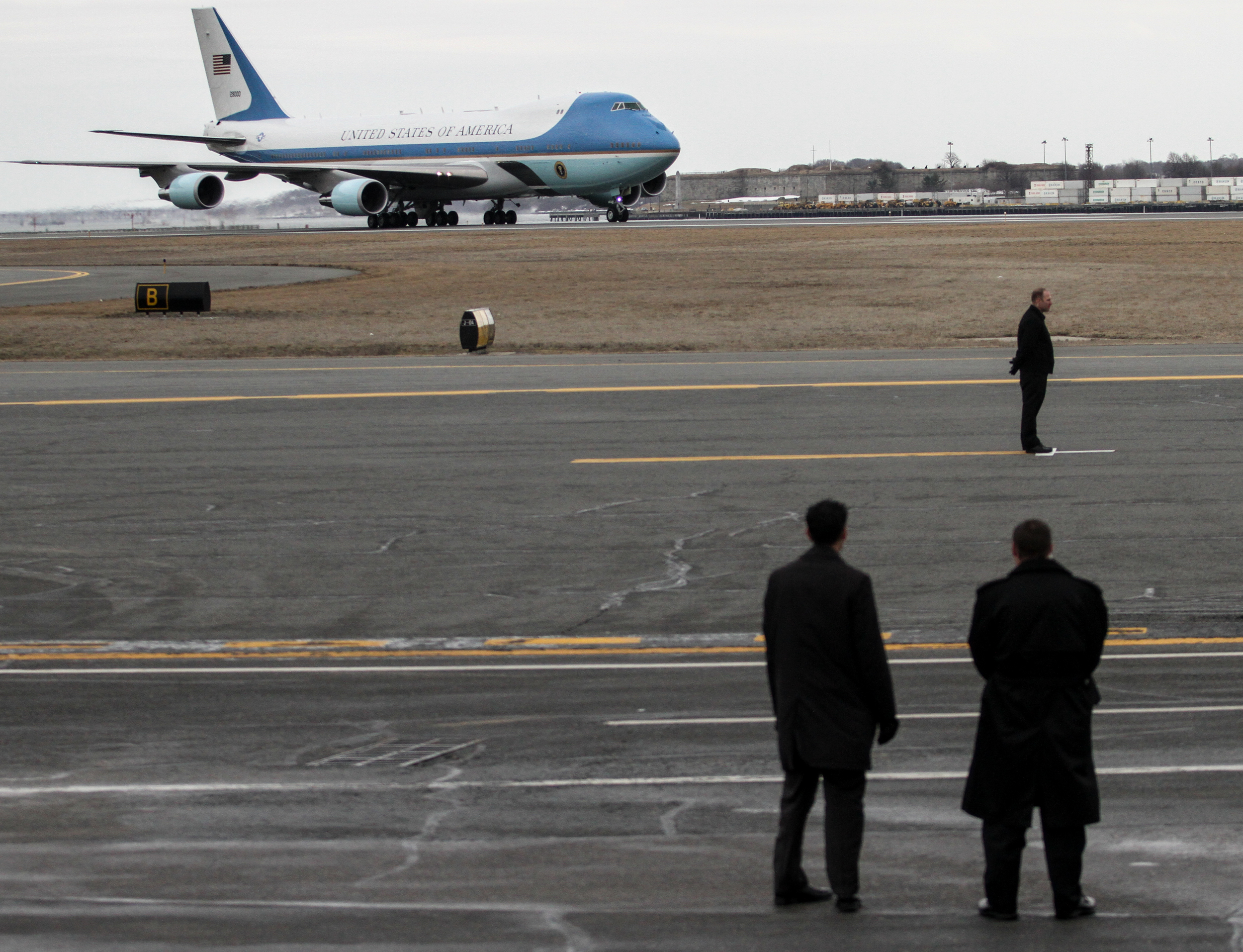 Air Force One arrives at Logan International Airport in Boston, Mass. March30, 2015.