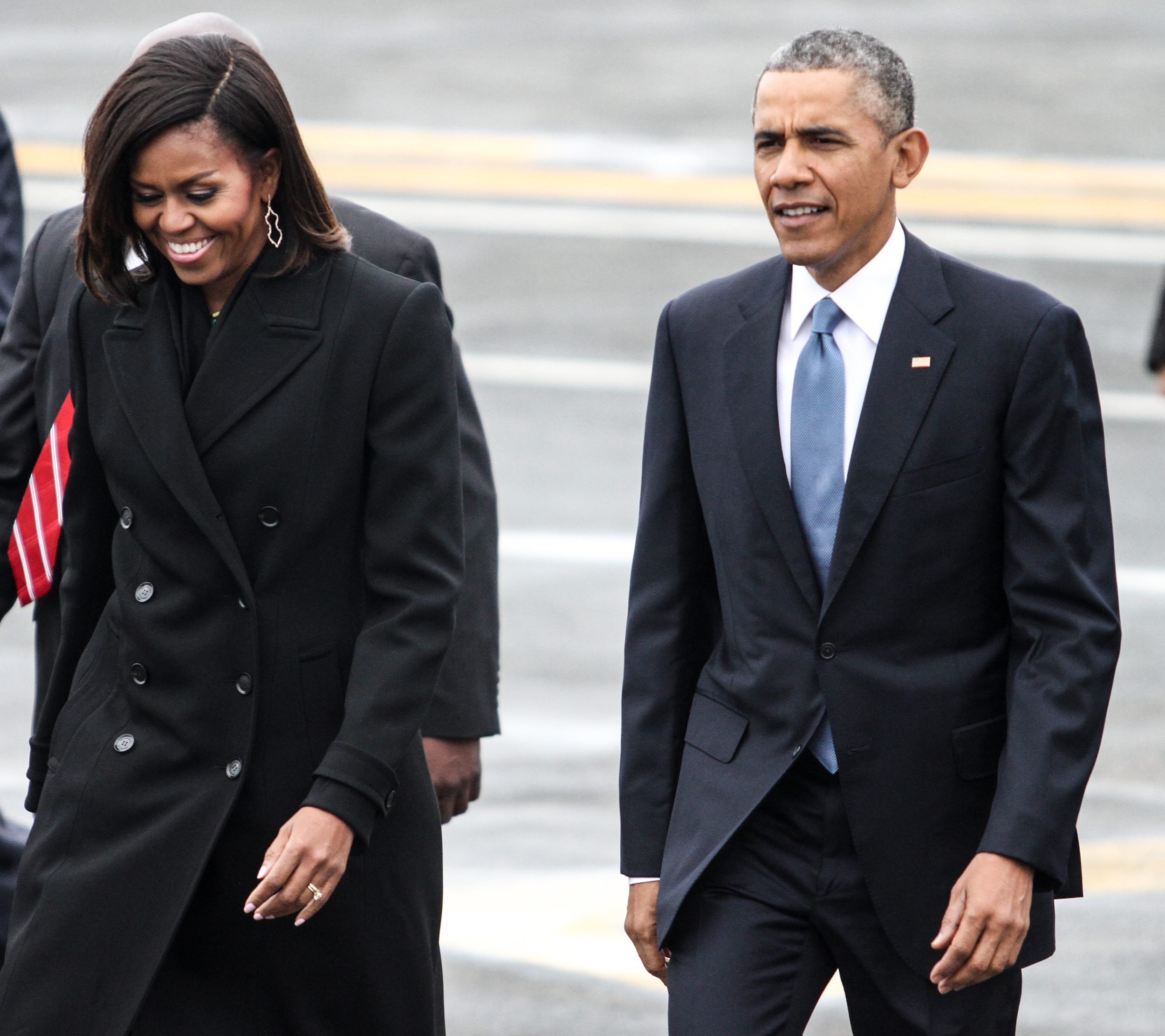 Michelle and Barack Obama arrive in Boston for the opening of theEdward M. Kennedy Institute March 30, 2015.