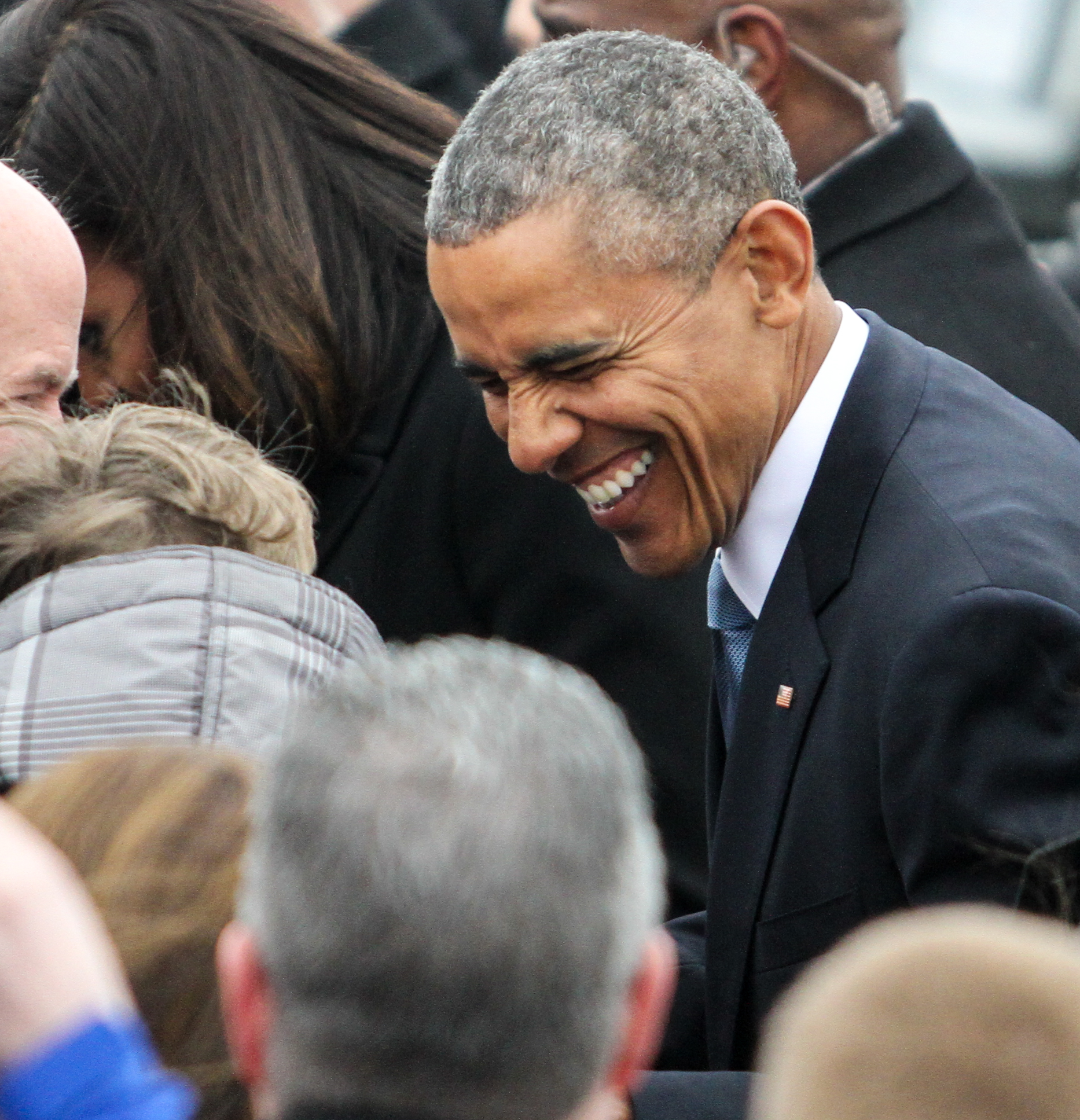 Obama speaks with supporters at Logan International Airport March 30, 2015.