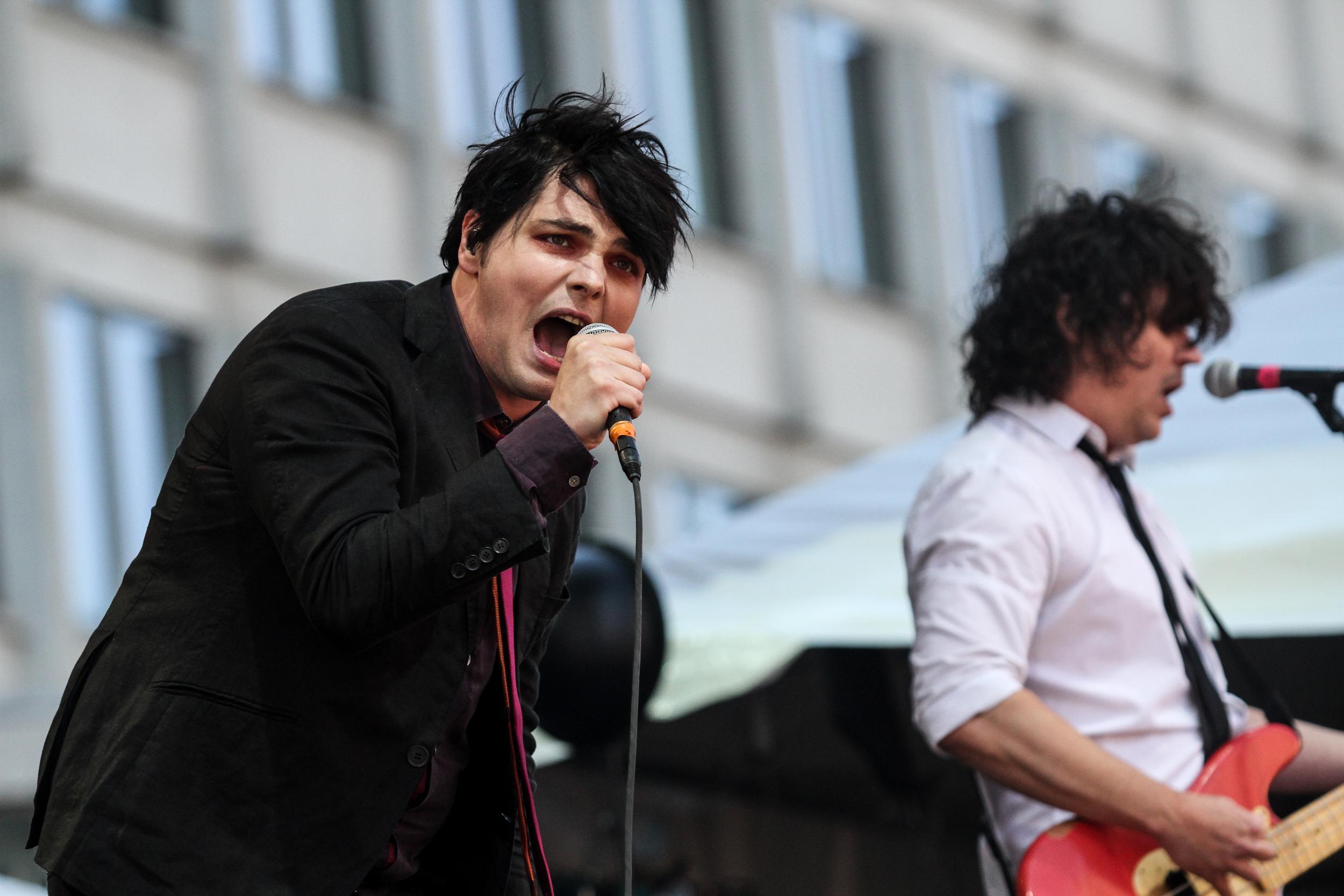 Gerard Way sings at Boston Callingon May 23, 2015 in City Hall Plaza.