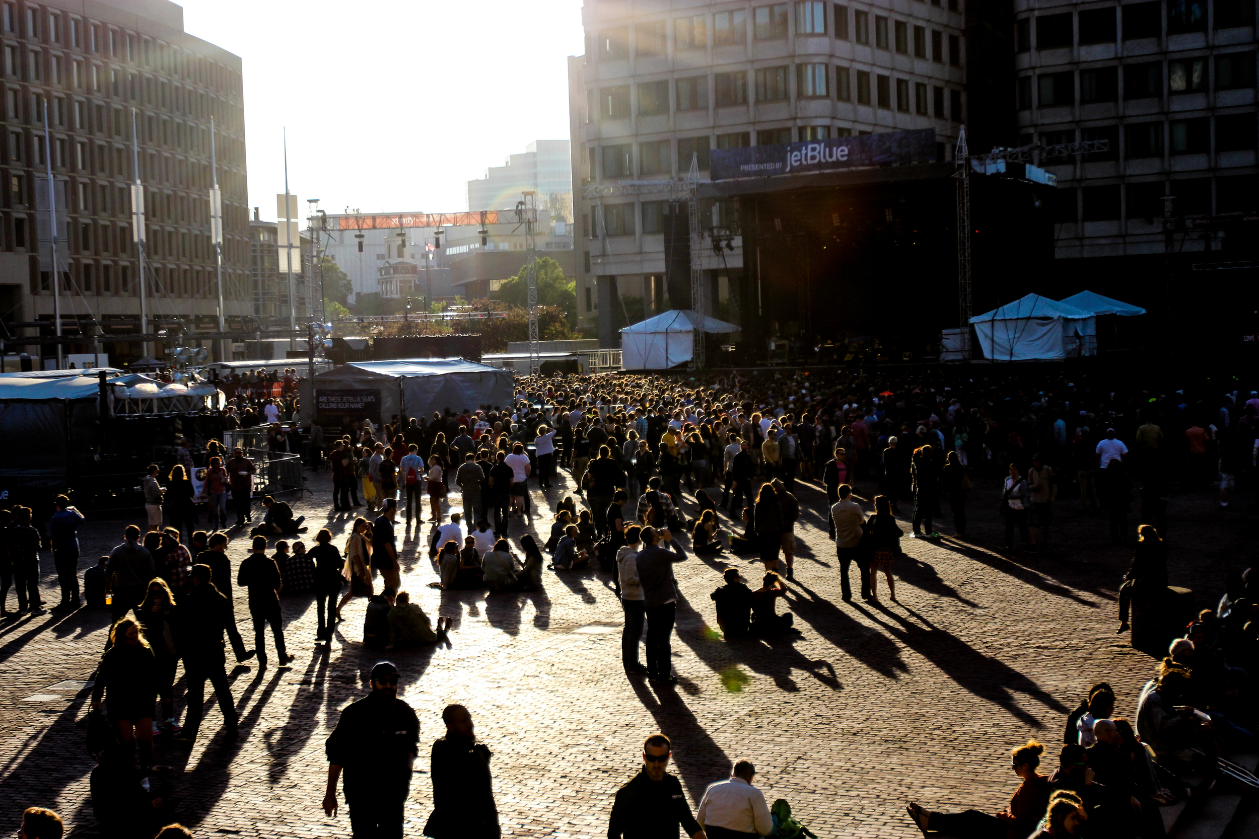 Attendees gather on May 22, 2015 for the first day of Boston Calling in City Hall Plaza.
