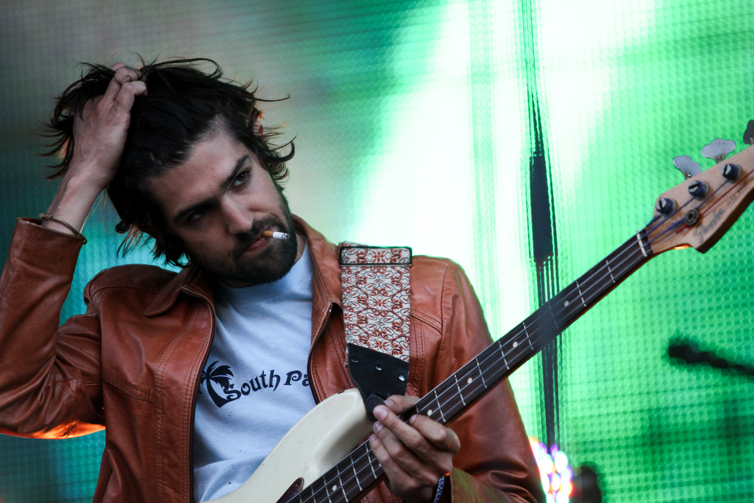 Tame Impala prepares for their set on the first day of Boston Calling,May 22, 2015 in City Hall Plaza.