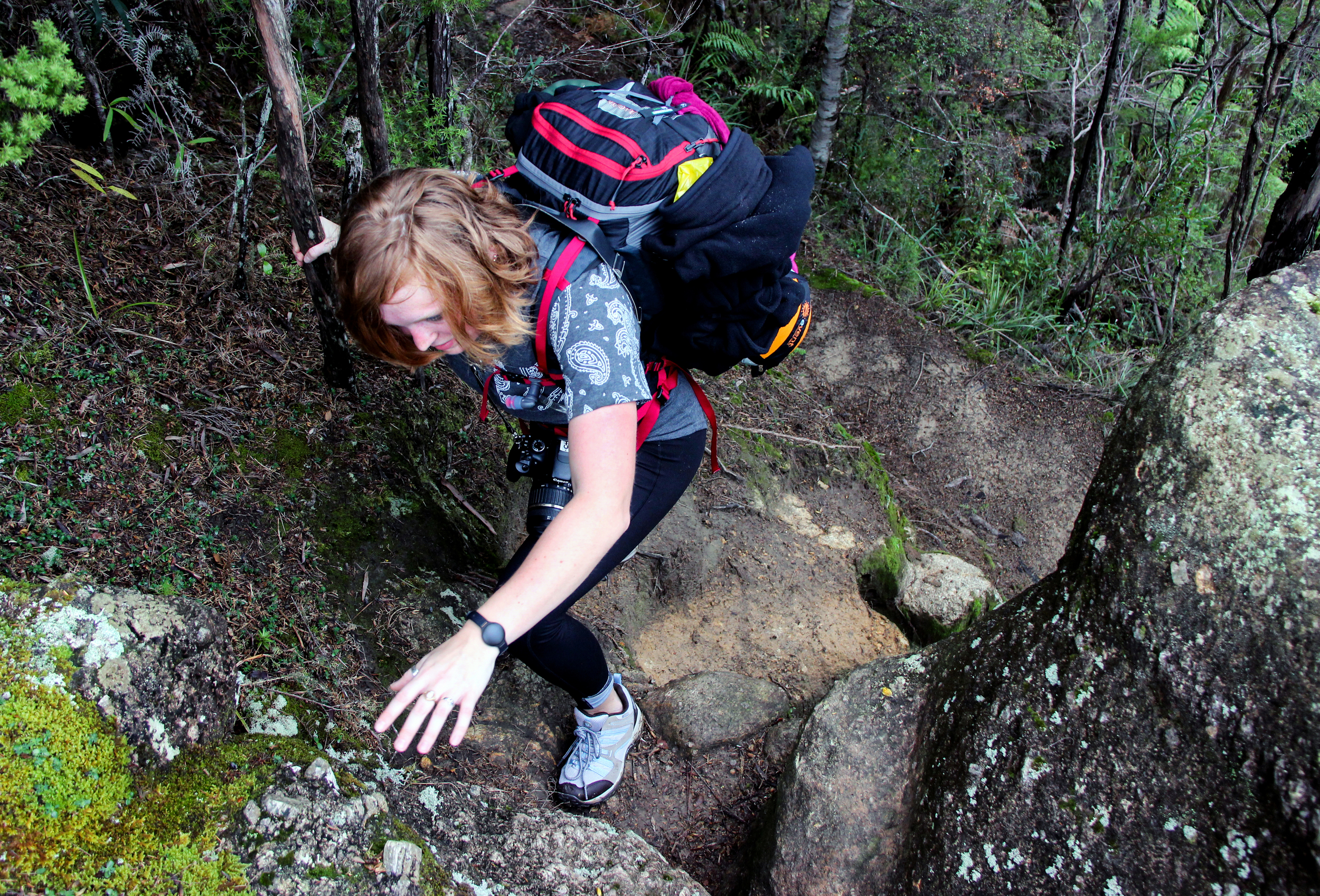 """Jamie Quinn, 21, of Boston, climbs up a pathway of rocks on the Abel Tasman Inland Track.While the Coastal Track is classified as an easy Great Walk, its counterpart is labeled as an advanced tramping track. The Department of Conservation warns that this track is """"suitable for people with good fitness, moderate to high-level backcountry skills and experience (including navigation and survival skills) [is] required. Tramping/hiking boots [are]required."""""""