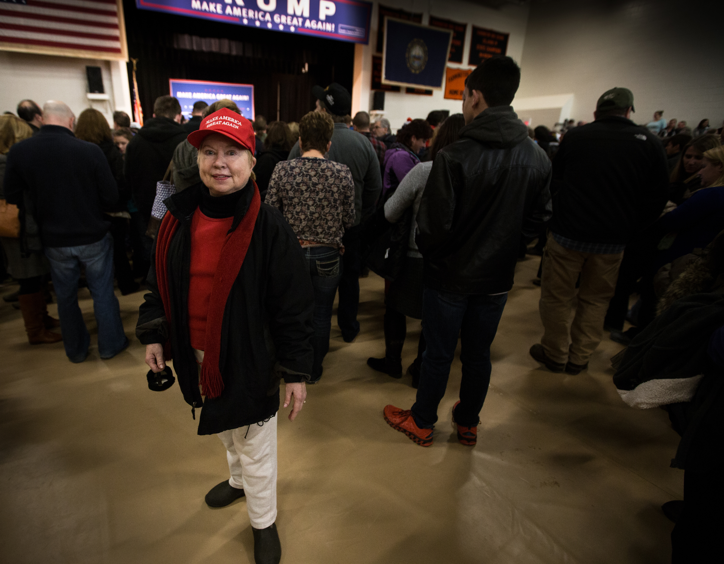 Donald Trump supporter Nancy Patrie-Iwanicki of Middleton, NH poses for a portrait at a Donald J. Trump for President Rally at Farmington High School, 40 Thayer Dr., Farmington, NH on Jan. 26, 2016.