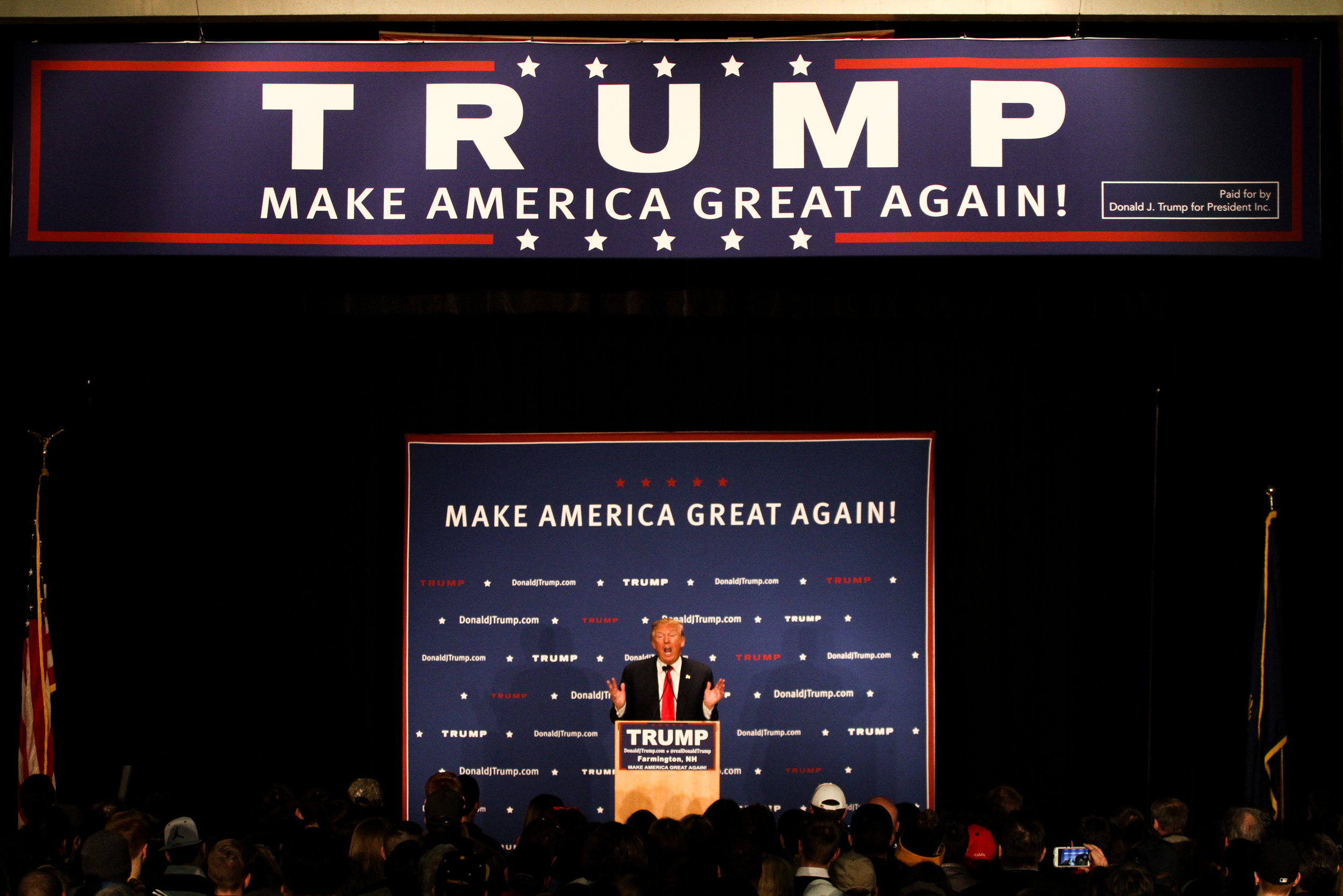 U.S. presidential candidate Donald Trump speaks to hundreds of supporters during a Donald J. Trump for President Rally at Farmington High School, 40 Thayer Dr., Farmington, NH on Jan. 26, 2016.