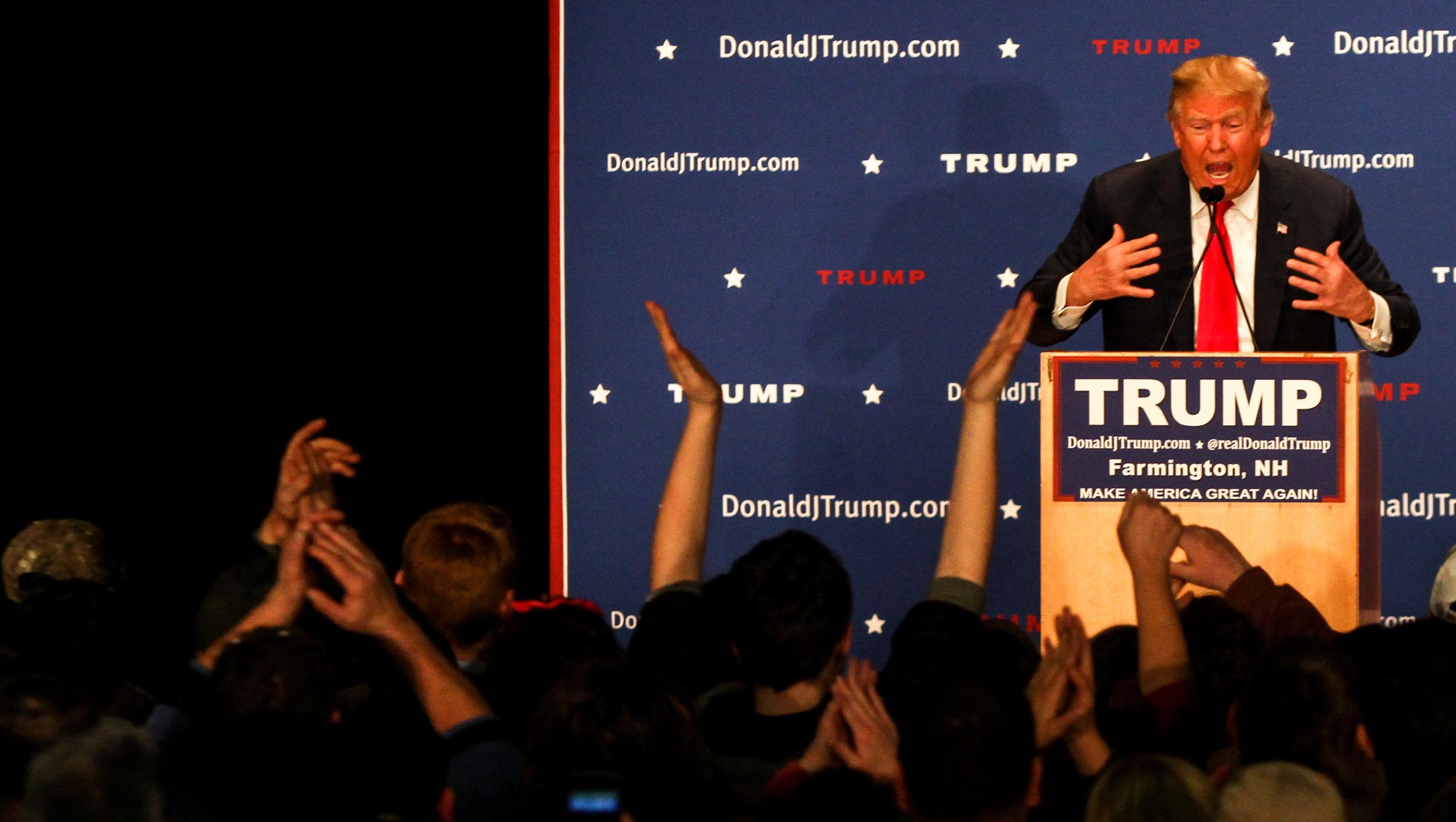 U.S. presidential candidate Donald Trump speaks at a Donald J. Trump for President Rally at Farmington High School, 40 Thayer Dr., Farmington, NH on Jan. 26, 2016.