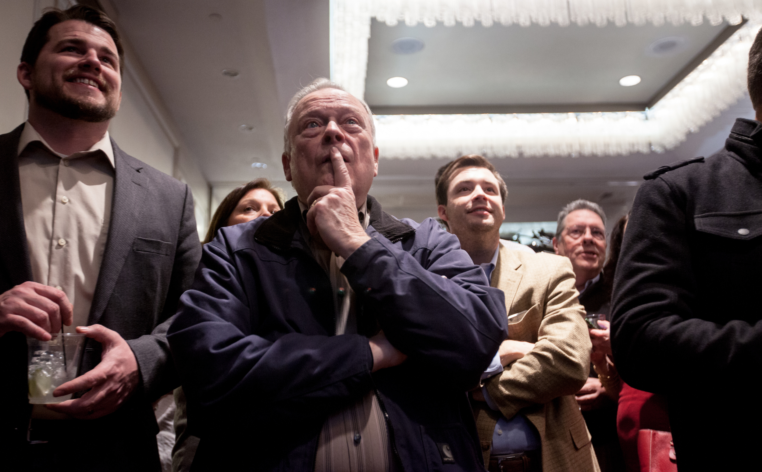 Manchester, NH, Feb. 9, 2016 - Supporters watch Bernie Sanders' victory speech on a television at Marco Rubio's New Hampshire Primary watch party at the Radisson Hotel. Photo by Alexandra Wimley