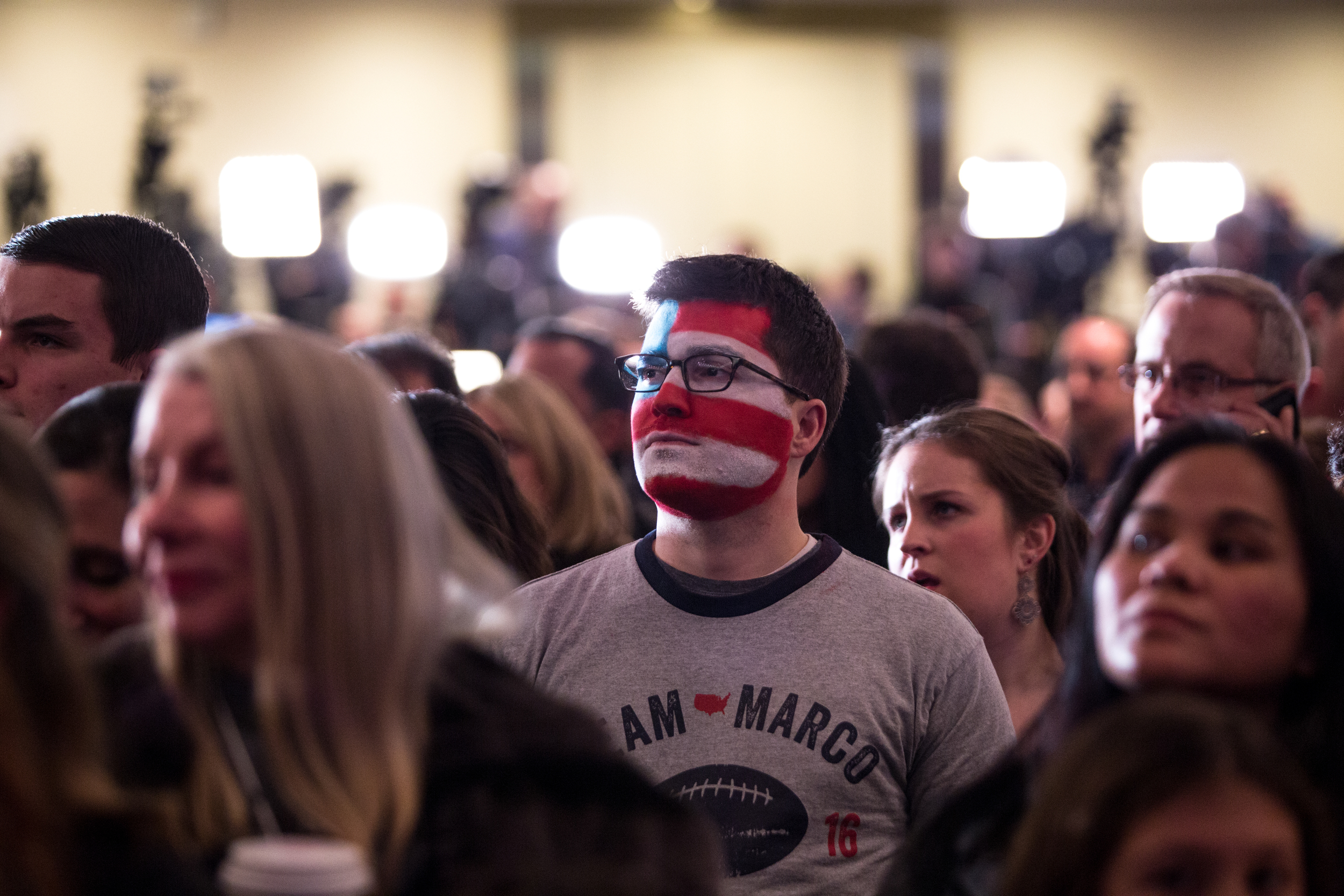 Manchester NH, Feb. 9, 2016 -Michael Skocay, of Cambridge MA, waits for voting results to come in during Marco Rubio's New Hampshire Primary watch party at the Radisson Hotel. Photo by Alexandra Wimley