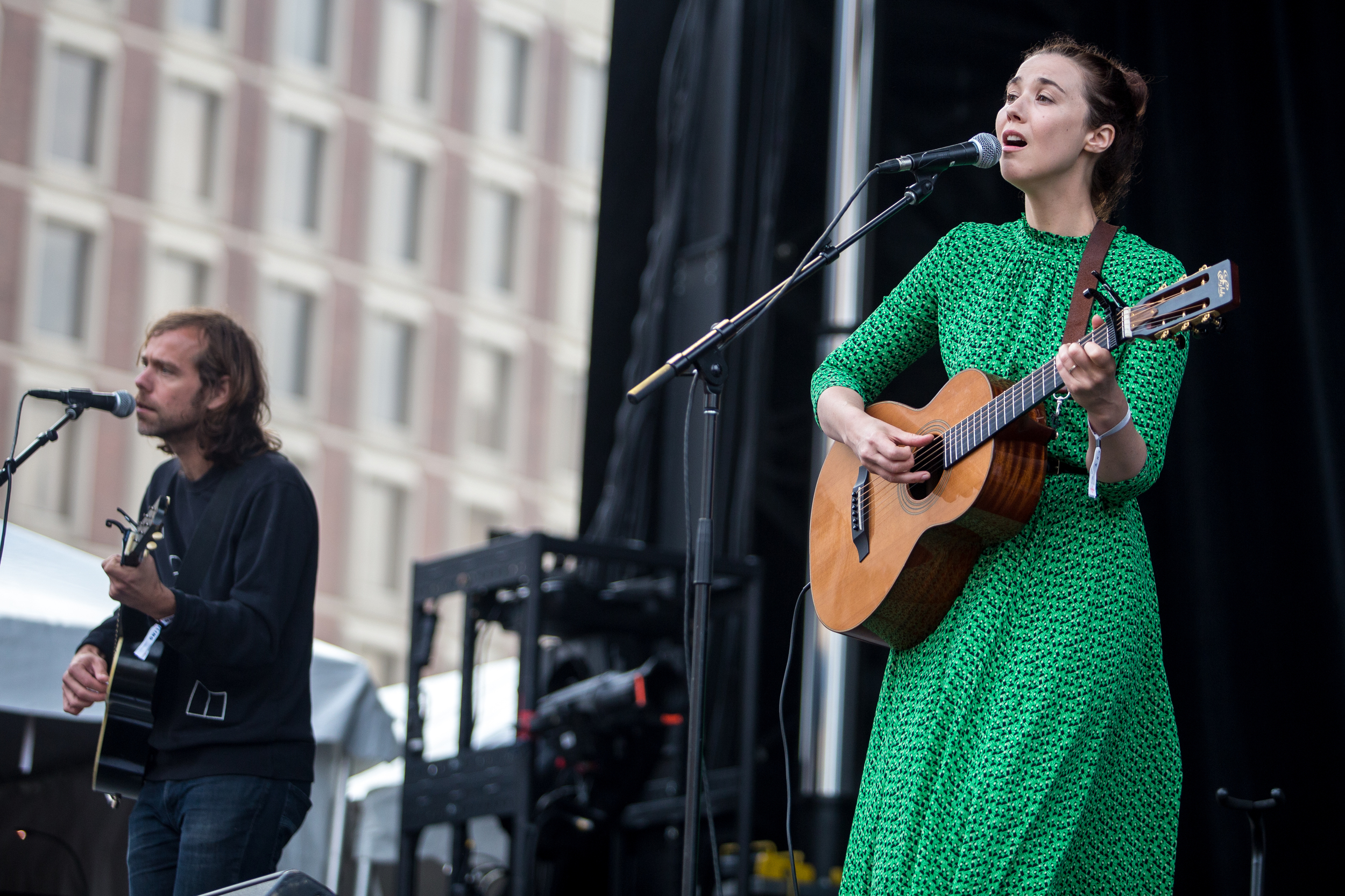 Lisa Hannigan performs with Aaron Dessner of The National to open the festival on Friday.