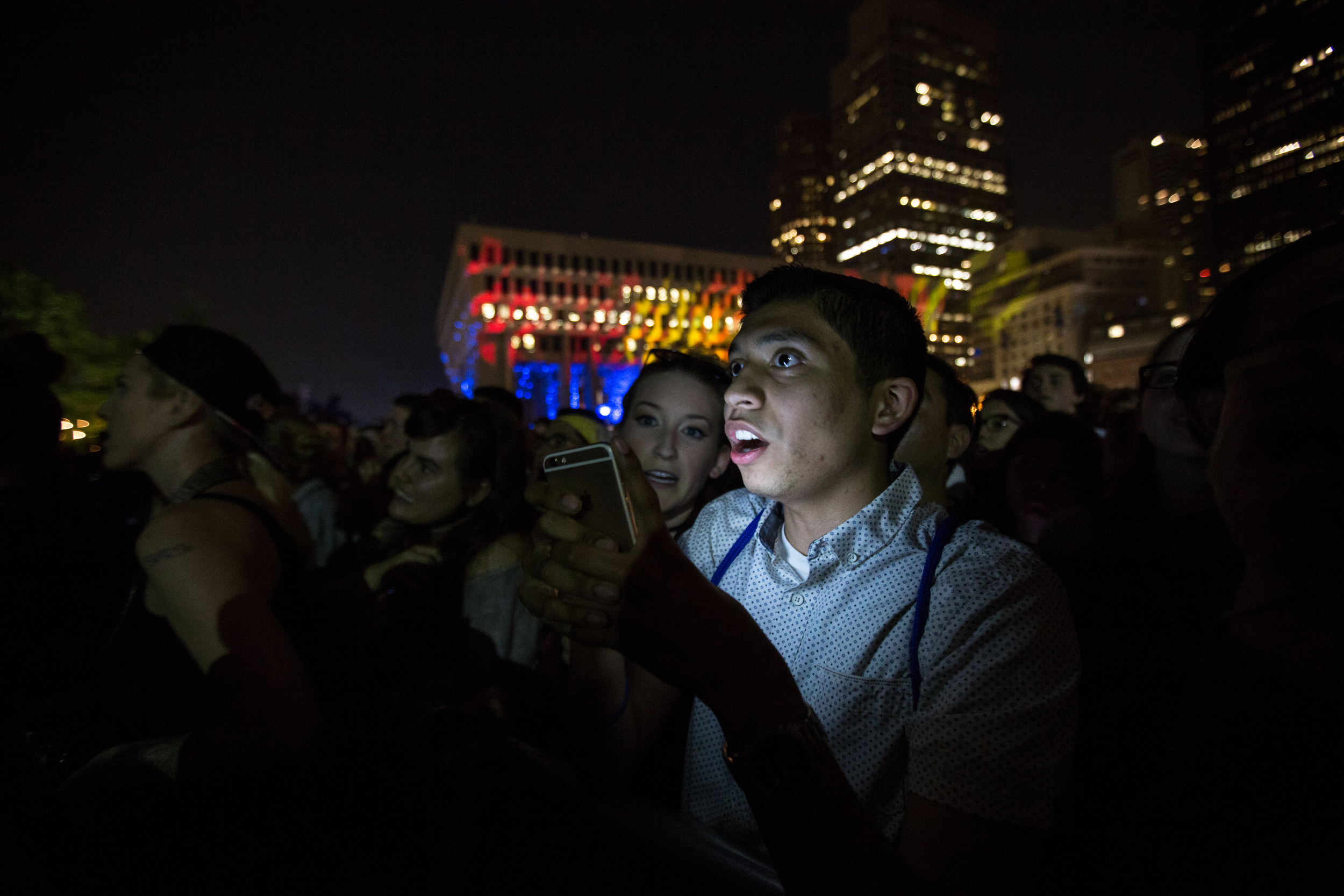 A fan reacts to a performance Saturday night.