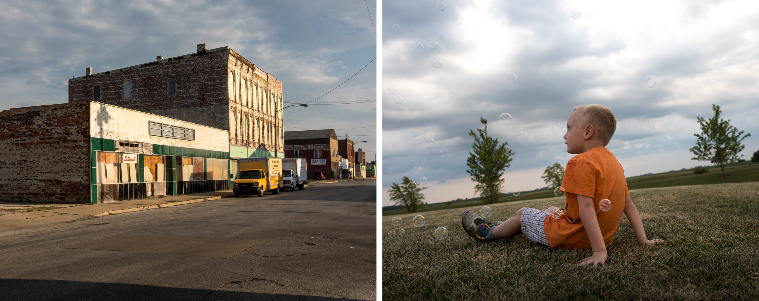 (Left) A street in Decatur, Ill. is lined with abandoned businesses. (Right) Caleb Christian, 5, lays on the ground while playing with bubbles at Chill on the Hill, a summer concert event in Mt. Zion, Ill. Christian's mother Mandy decided to return to neighboring Decatur, Ill. after moving away because an ad campaign funded by Howard Buffett cleared up misconceptions about the city's crime rate.