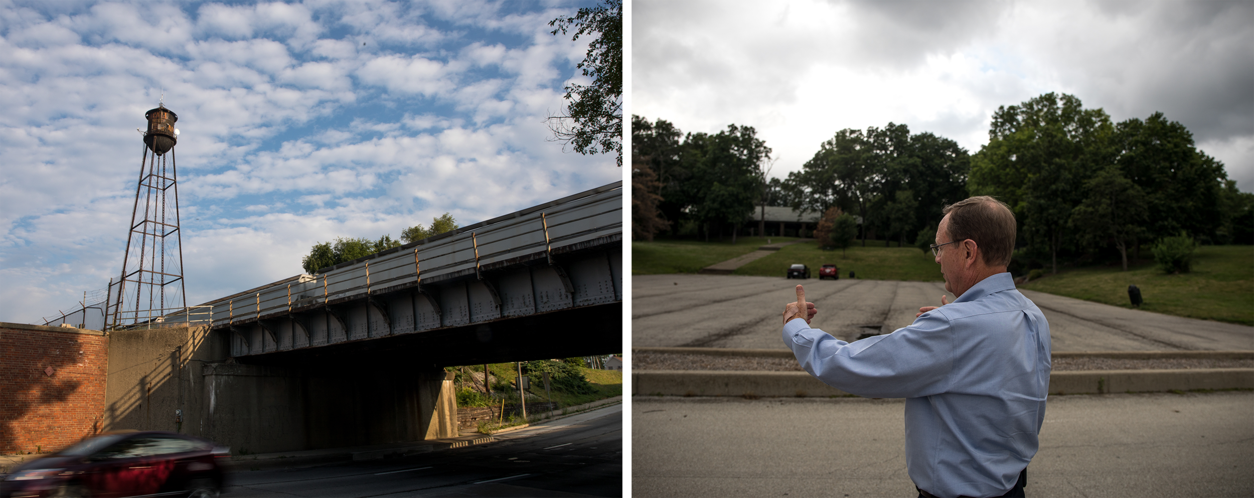 (Left) An old water tower in Decatur, Ill. (Right) Bill Clevenger, head of Decatur Park District, explains the location of an amphitheater near the shore of Lake Decatur that Howard Buffett is funding in Decatur, Ill. Clevenger says the amphitheater will bring tourism money into the community.