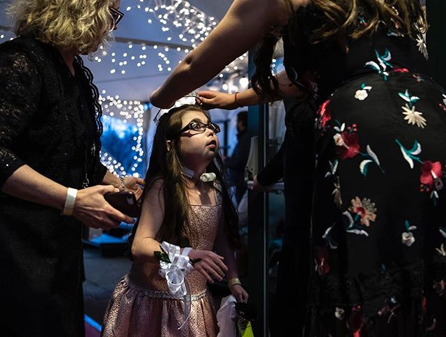 Sierra Fagan is crowned on the red carpet before Night to Shine, a prom for people with special needs sponsored by the Tim Tebow Foundation, at The Bible Chapel in McMurray tonight. (Alexandra Wimley/Post-Gazette)