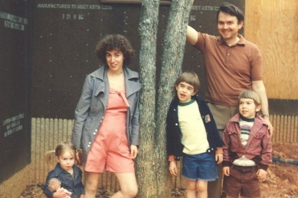 Visiting my mom's parents, when my grandfather was in the process of building their house. I had just turned 2 here. Kudos to my mom for trying out various hairstyles! And I think she made the clothes that she and I are wearing (including that jean jacket I have on).