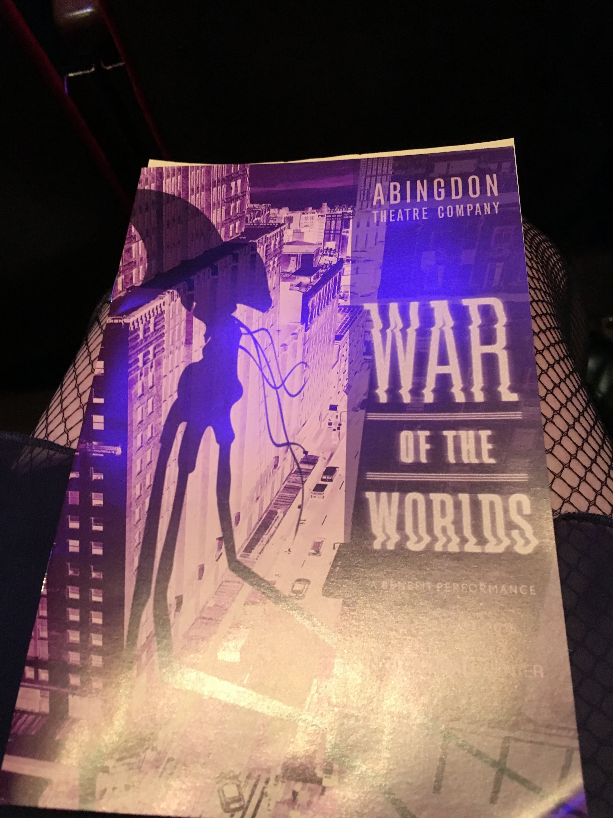 Abingdon's program for their version of the 1938 classic (resting on my fishnet stockinged legs, 1930s-style).