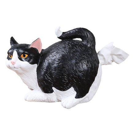 Cat Butt Tissue Holder - Black & White Tuxedo - Fits Standard Tissue Box - Resin.jpg