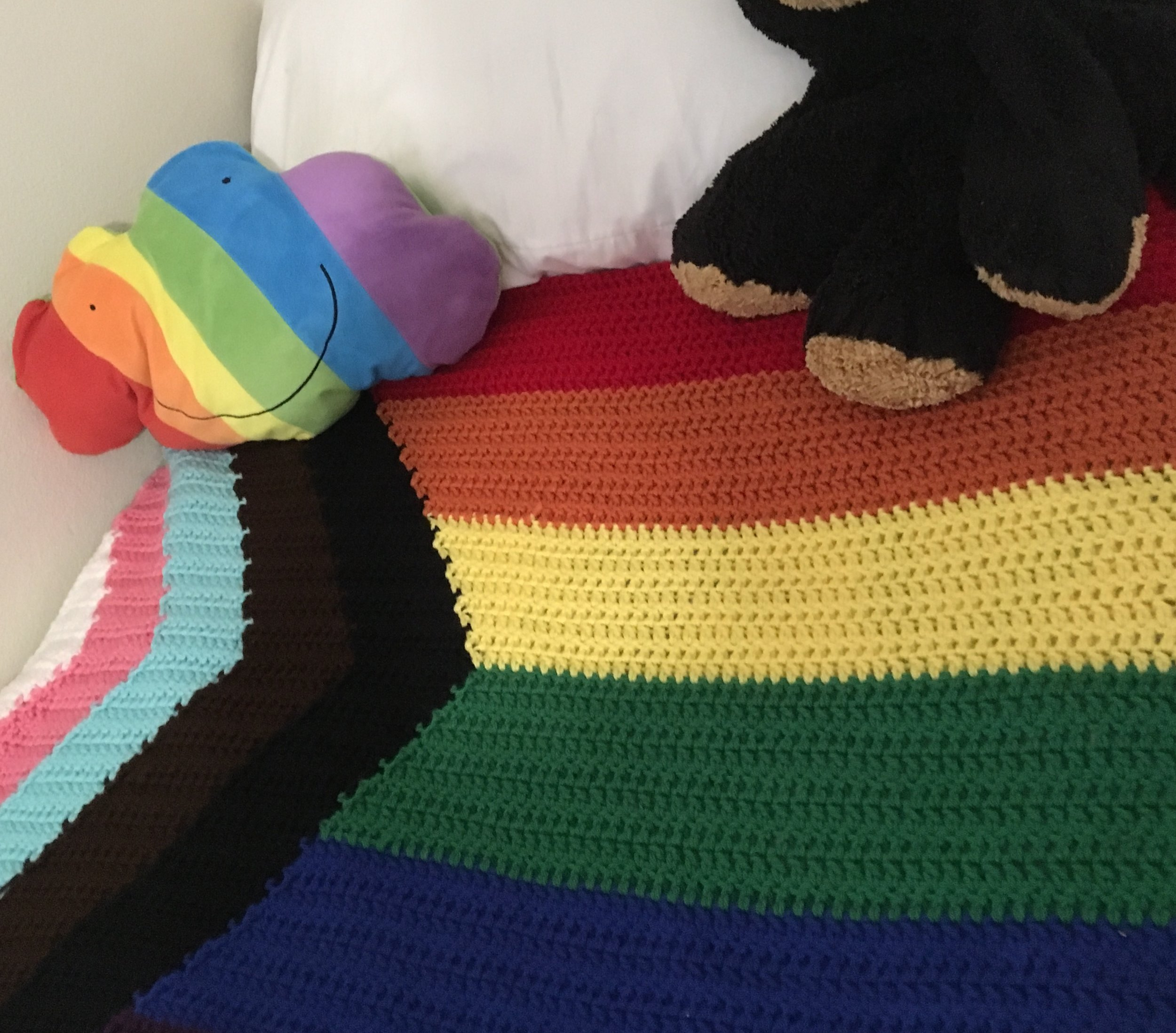 "Hand Crocheted Pride Blanket 40""x48"" - Retail Value: $350"