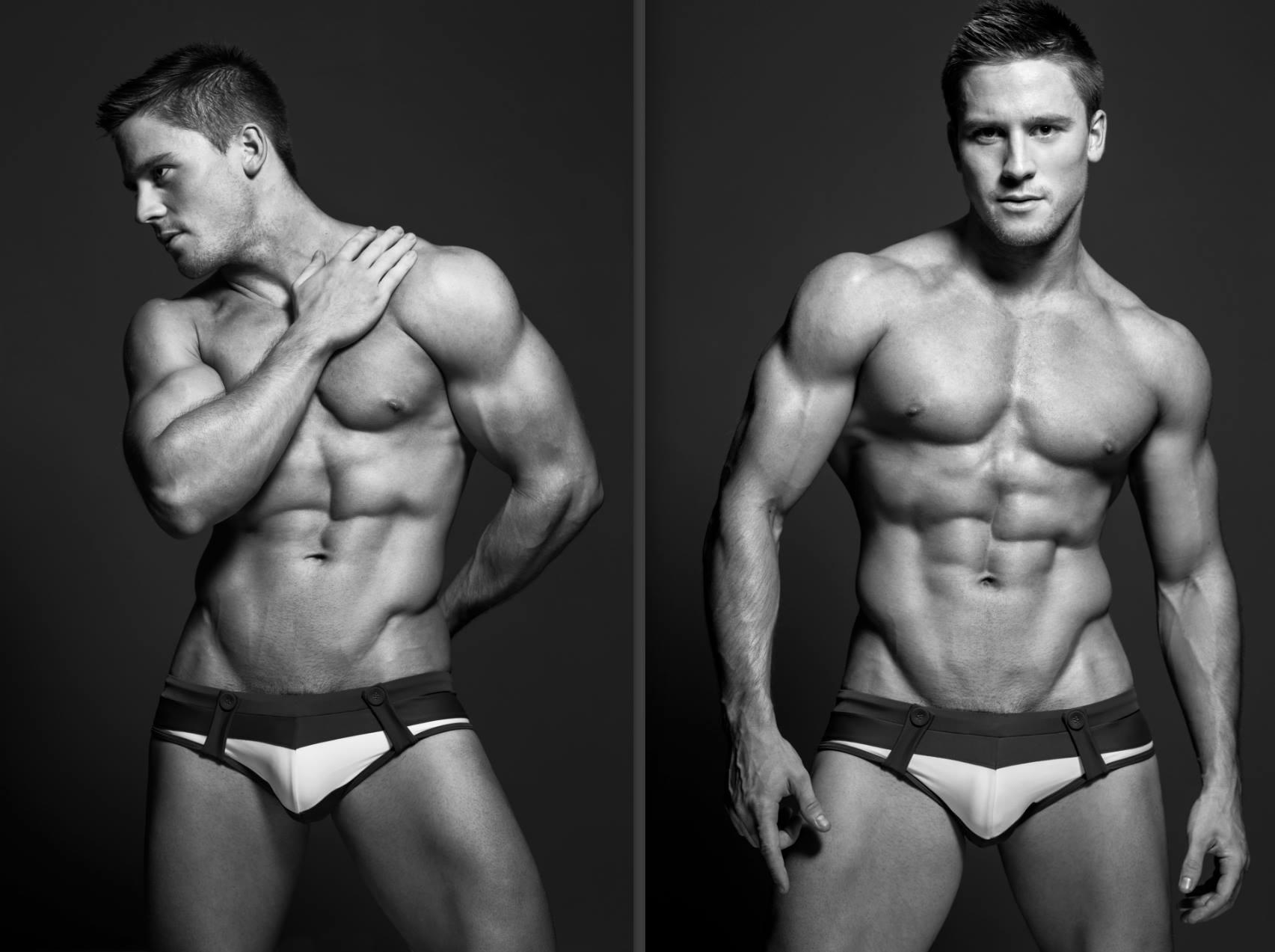 "Male Stripper ""Tommy Gun"" modelling for an underwear campaign."