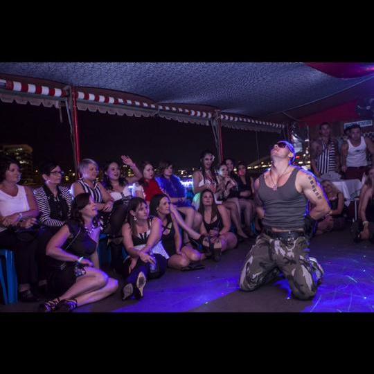 """Performer """"Ace"""" in his Military outfit for a ladies night on a boat on the Brisbane River."""