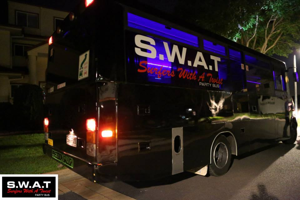 party bus packages available in surfers paradise, gold coast. male strippers and topless waiters on the party bus.