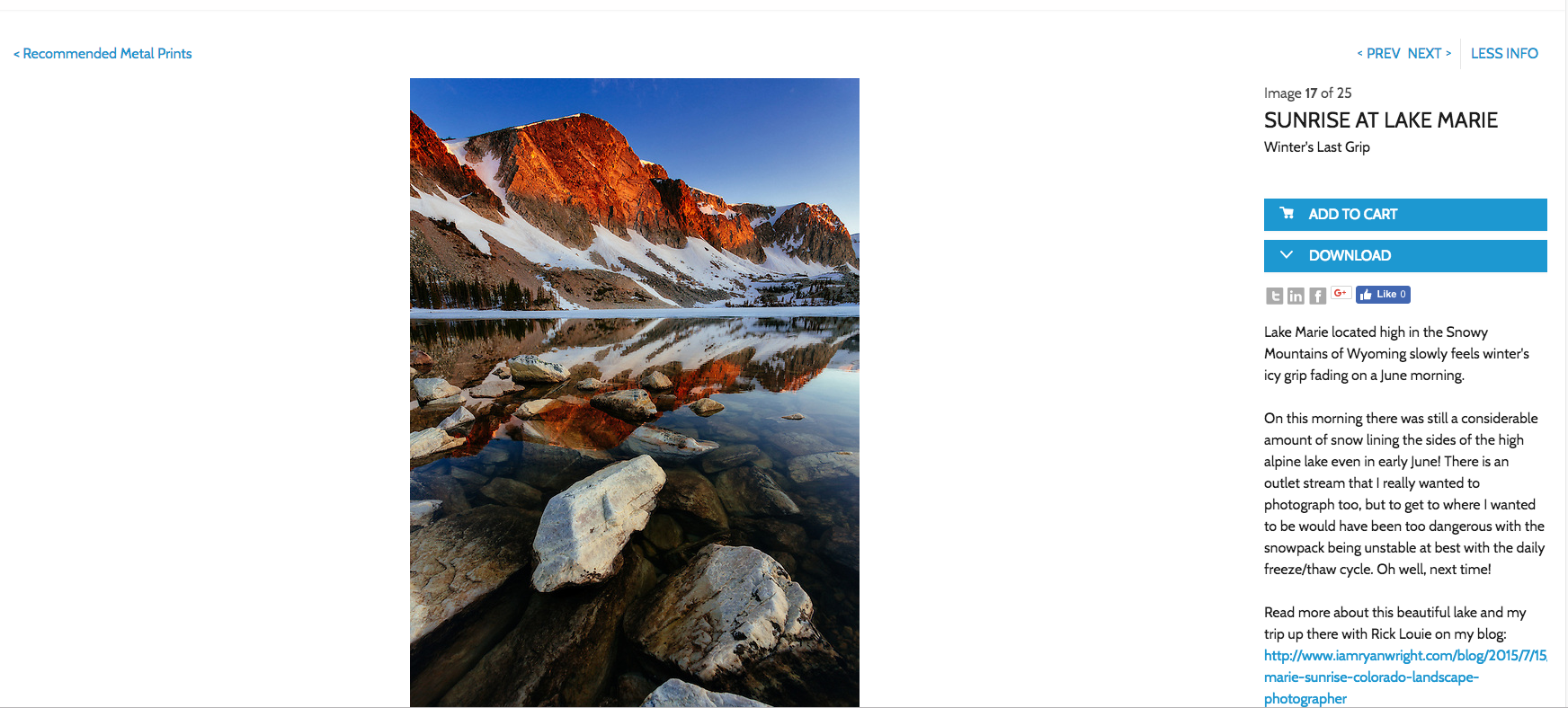 Photoshelter's gallery image display with checkout+