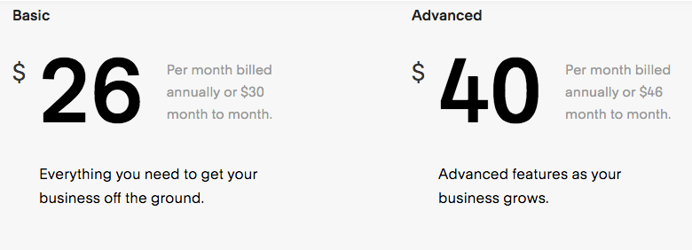 Squarespace pricing.