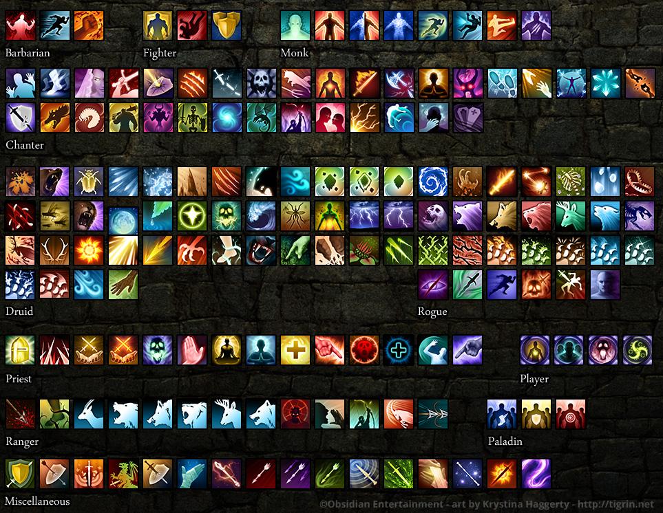 Pillars of Eternity spell icons