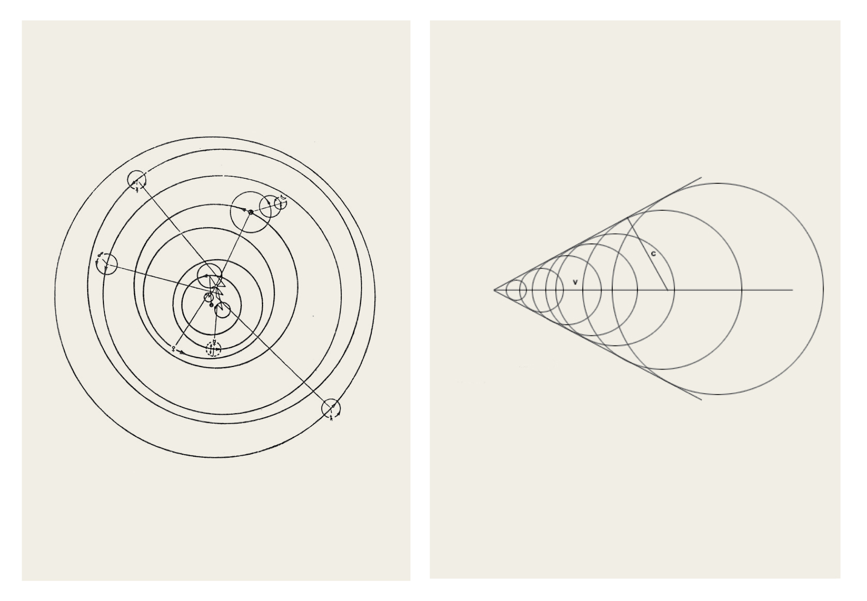 Andrea Galvani  © 2015 (Left)  The End  #10 (  Study on Galileo Galilei Diagram  ), (Right)  The End  #11 (  Study on Mach Wave Diagram  ),   Both Black Ink on Archival paper, white wood frame with museum glass, 50 x 70 cm each.