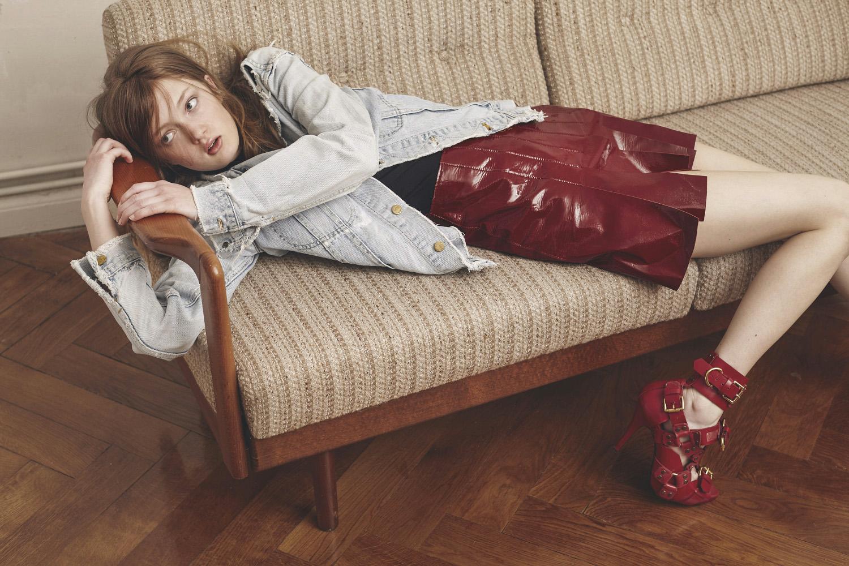 Sophia wears jacket by  LEE VINTAGE  top by   HELMUT LANG  heels by   KTZ